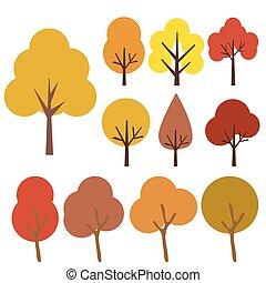 Autumn trees icons isolated on white