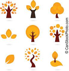 Autumn trees icons isolated on white ( orange )
