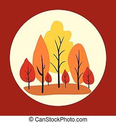 Autumn trees in circle. Vector illustration.