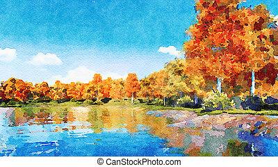 Autumn trees on a lake shore watercolor landscape