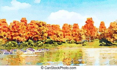 Autumn trees on a lake shore watercolor landscape -...