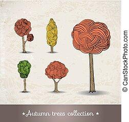 Autumn trees on vintage background