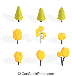 Autumn trees set. Low poly Vector illustration
