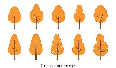 Autumn. Trees set
