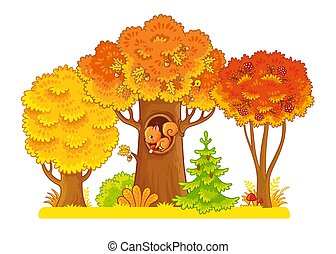 Autumn trees stand on a white background with a squirrel in the hollow.