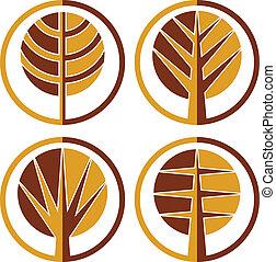 Autumn trees vector round icon set.