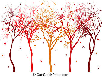 autumn trees with falling leaves - autumn trees with ...