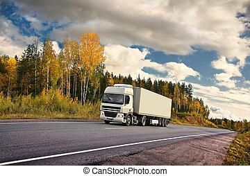 autumn truck highway - white truck on autumn highway