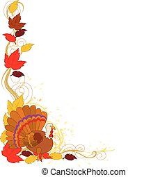 Autumn Turkey Border - A border featuring autumn leaves and...