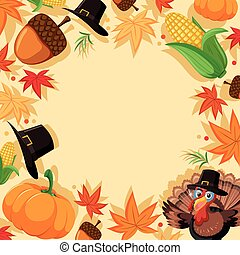 Autumn turkey border template