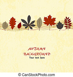 Autumn vector background - Autumn leaf ornament on the light...