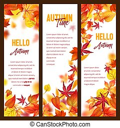 Autumn vector banners of fall leaf falling foliage