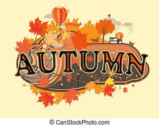 Autumn - Decorative stylized title, autumn, vector...