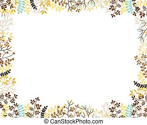 Autumn vector floral border in muted colors with copy space for text