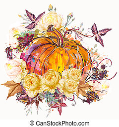 Autumn vector illustration pumpkin with flowers