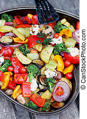 Ragout of vegetables baked in the oven