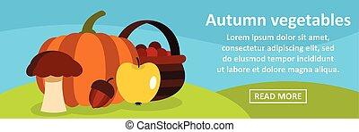 Autumn vegetables banner horizontal concept