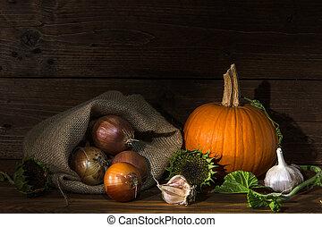 autumn vegetables in dark