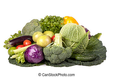autumn vegetables on isolated white background