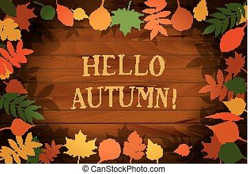 autumn., vetorial, olá, ilustração