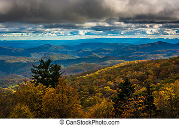 Autumn view from the Blue Ridge Parkway near Blowing Rock, North