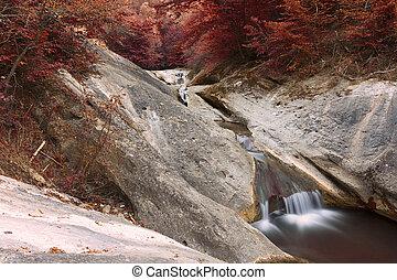 autumn view of la Gavane waterfall