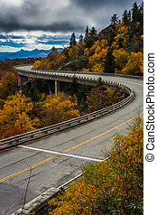 Autumn view of Linn Cove Viaduct, on the Blue Ridge Parkway, Nor