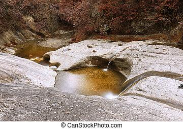 autumn view of mountain stream
