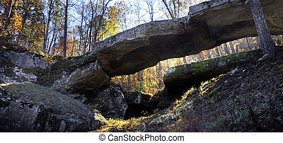 Autumn View of Natural Bridge in Arkansas