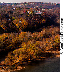 Autumn view of Park Island and the upper town of Harper's Ferry, West Virginia.