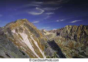 Autumn view of sunny mountains in High Tatras