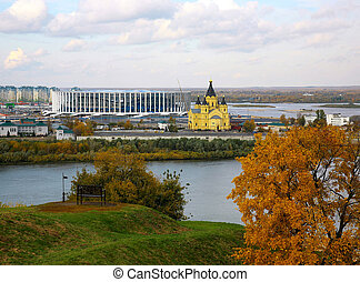 Autumn view of the ancient Russian city of Nizhny Novgorod at the confluence of the two rivers Oka and Volga