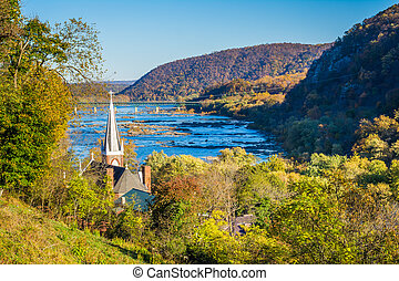 Autumn view of the Potomac River from Jefferson Rock, in Harpers Ferry, West Virginia.