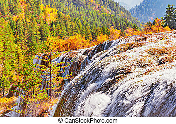 Autumn view of the waterfall.