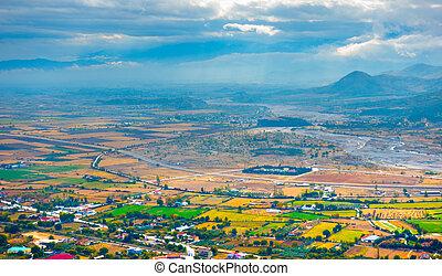Autumn view of valley near Kalambaka town, Thessaly, Greece