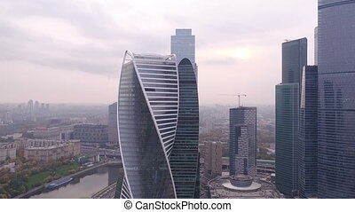Autumn views of Moscow City - aerial HD