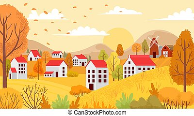 Autumn village landscape. Countryside autumnal gardens, yellow trees and sunny day vector background illustration