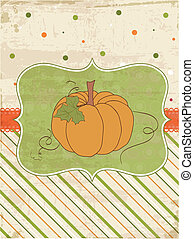 Autumn Vintage Card with Pumpkin and place for your text