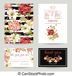 Autumn Vintage Hortensia Flowers Save the Date Card for Wedding, Invitation, Party in vector