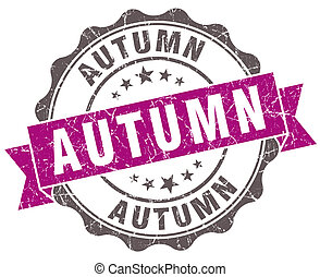 Autumn violet grunge retro style isolated seal