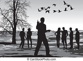 Autumn Walk in nature - black and white illustration of a...