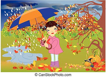 autumn walk in the rain,