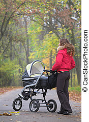 Autumn walk with baby - Young female is walking in park with...