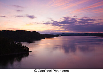 Autumn  - Water Reservoirs and sunset