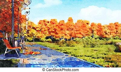 Autumn watercolor landscape with empty park alley -...