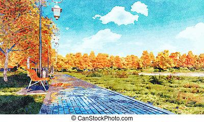 Autumn watercolor landscape with empty park alley