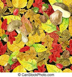 Autumn watercolor pattern