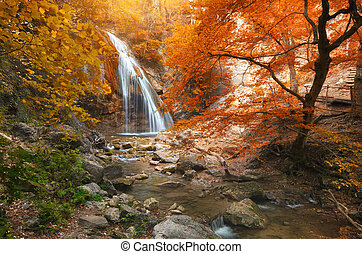 Autumn waterfall and rill flow.