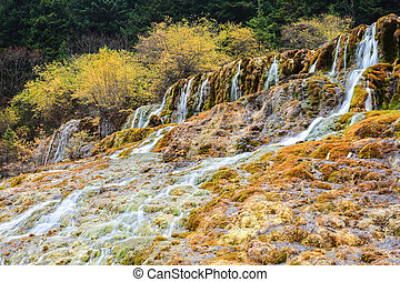 autumn waterfall in huanglong