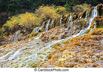 autumn waterfall in huanglong